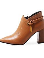 Недорогие -Жен. Ботильоны Кожа Зима Обувь на каблуках На толстом каблуке Заостренный носок Ботинки Цветы из сатина Черный / Желтый
