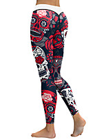cheap -Women's Patchwork Yoga Pants - Red black Sports Halloween Spandex Tights / Leggings Running, Fitness, Dance Activewear Moisture Wicking, Anatomic Design, Compression Stretchy Skinny