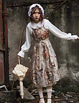 economico -Lolita Classica e Tradizionale Vintage Chiffon Per femmina Gonna pullover Cosplay Giallo Senza maniche Midi Costumi Halloween