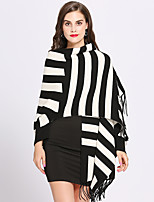 cheap -Long Sleeve Core Spun Yarn Wedding / Party / Evening Women's Wrap With Tassel / Stripe Capes