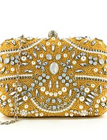 cheap -Women's Bags Silk / Alloy Evening Bag Crystals / Pearls Floral Print Gold / Blushing Pink / Silver
