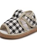 Недорогие -Девочки Обувь Полотно Лето Удобная обувь Сандалии На липучках для Дети Черный / Красный