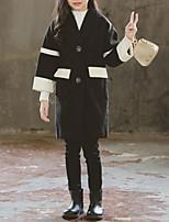 Недорогие -Дети Девочки Черное и белое Контрастных цветов Длинный рукав Куртка / пальто