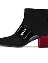 Недорогие -Жен. Fashion Boots Замша Осень Ботинки На толстом каблуке Закрытый мыс Ботинки Черный