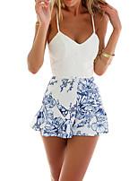 Недорогие -Жен. Пляж Комбинезоны - Цветочный принт V-образный вырез / Сексуальные платья