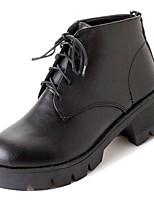 Недорогие -Жен. Армейские ботинки Полиуретан Осень Ботинки На толстом каблуке Круглый носок Черный / Темно-коричневый