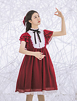 economico -Dolce Vintage Elegante Chiffon Per femmina Vestiti Cosplay Rosso A petalo Manica corta Midi Costumi Halloween