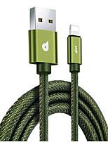abordables -Eclairage Adaptateur de câble USB Haut débit / Charge rapide Câble Pour iPhone 188 cm Pour Tissu Oxford