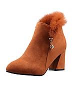 billiga -Dam Fashion Boots Mocka Höst vinter Stövlar Bastant klack Spetsig tå Korta stövlar / ankelstövlar Svart / Mörkbrun