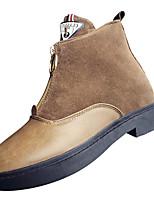 Недорогие -Жен. Армейские ботинки Полиуретан Осень На каждый день Ботинки На низком каблуке Сапоги до середины икры Черный / Темно-коричневый