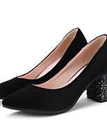 Недорогие -Жен. Балетки Замша Весна Обувь на каблуках На толстом каблуке Черный / Винный