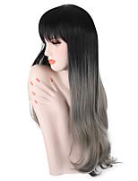 Недорогие -Парики из искусственных волос Волнистый Омбре Средняя часть Искусственные волосы 26 дюймовый Для вечеринок / Классический / синтетический Серый / Омбре Парик Жен. Длинные Без шапочки-основы / Да