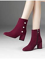 Недорогие -Жен. Fashion Boots Замша Зима Ботинки На толстом каблуке Закрытый мыс Ботинки Черный / Темно-красный