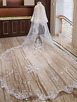 Недорогие -Два слоя Милая Свадебные вуали Фата для венчания с Аппликации / Гребень в виде цветка Кружева / Тюль