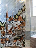 cheap -Window Film & Stickers Decoration Ordinary Cities / Character PVC(PolyVinyl Chloride) Window Sticker