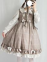 baratos -Doce Lolita Escolar Estilo bonito Feminino Vestidos Cosplay Cinzento / Café Julieta Manga Longa Midi Trajes da Noite das Bruxas