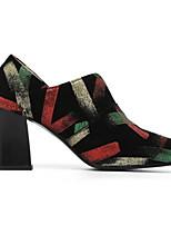 Недорогие -Жен. Комфортная обувь Замша / Овчина Осень Обувь на каблуках На толстом каблуке Черный