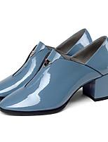 Недорогие -Жен. Fashion Boots Наппа Leather Осень Ботинки На толстом каблуке Закрытый мыс Ботинки Черный / Синий