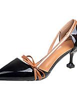 Недорогие -Жен. Балетки Полиуретан Лето Обувь на каблуках На шпильке Черный / Бежевый