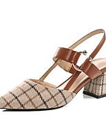 Недорогие -Жен. Комфортная обувь Трикотаж Лето Обувь на каблуках На толстом каблуке Черный / Коричневый