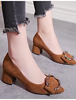 Недорогие -Жен. Комфортная обувь Замша Осень Обувь на каблуках На толстом каблуке Черный / Бежевый / Marron