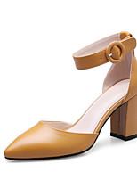 abordables -Femme Escarpins Cuir Nappa Printemps Chaussures à Talons Talon Bottier Blanc / Noir / Jaune