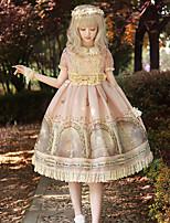 economico -Dolce Vintage Classico Chiffon Per femmina Vestiti Cosplay Rosa Manica a sbuffo Manica corta Midi Costumi Halloween