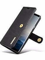 Недорогие -Кейс для Назначение SSamsung Galaxy Note 9 Кошелек / Бумажник для карт / со стендом Чехол Однотонный Твердый Настоящая кожа для Note 9