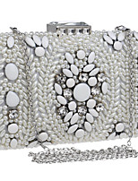 cheap -Women's Bags Polyester / Alloy Evening Bag Crystals / Pearls Floral Print White