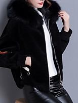 Недорогие -женская шерстяная куртка - сплошной цвет с капюшоном