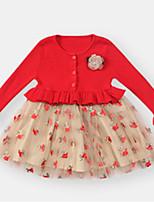 abordables -bébé Fille Fleur / Couleur Pleine Manches Longues Robe