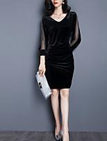 Недорогие -Жен. Винтаж / Элегантный стиль Оболочка Платье - Однотонный До колена