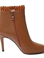 Недорогие -Жен. Ботильоны Наппа Leather Осень Обувь на каблуках На шпильке Заостренный носок Ботинки Цветы из сатина Белый / Черный / Коричневый