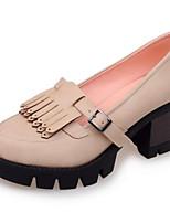 Недорогие -Жен. Fashion Boots Микроволокно Весна Обувь на каблуках На толстом каблуке Закрытый мыс Ботинки Черный / Светло-серый / Миндальный