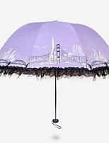 Недорогие -Ткань / Нержавеющая сталь Жен. Солнечный и дождливой / Новый дизайн Складные зонты