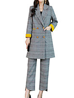 baratos -Mulheres Ternos / Conjuntos Básico Listrado