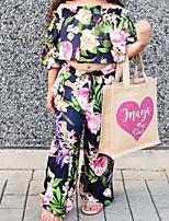 Недорогие -Дети / Дети (1-4 лет) Девочки Тропический лист Цветочный принт Рукав до локтя Набор одежды