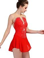 abordables -Robe de Patinage Artistique Femme / Fille Patinage Robes Rouge Spandex Utilisation / Professionnel Tenue de Patinage Séchage rapide, Design Anatomique Classique / Sexy Sans Manches Spectacle