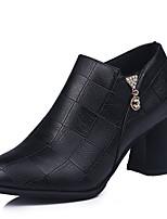 Недорогие -Жен. Ботильоны Полиуретан Осень Ботинки На толстом каблуке Заостренный носок Ботинки Черный