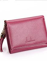 Недорогие -Жен. Мешки Кожа Бумажники С кисточками Сплошной цвет Розовый
