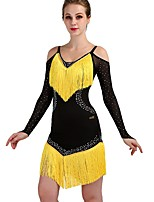 cheap -Latin Dance Dresses Women's Performance Spandex Tassel / Crystals / Rhinestones Long Sleeve Natural Dress