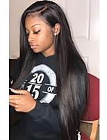 Недорогие -Remy Полностью ленточные Парик Бразильские волосы Шелковисто-прямые Парик Стрижка каскад 130% С детскими волосами / Природные волосы / Для темнокожих женщин Черный Жен. Длинные