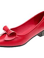 Недорогие -Жен. Балетки Полиуретан Лето Обувь на каблуках На низком каблуке Бант Белый / Черный / Красный / Повседневные
