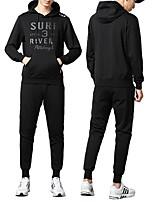 cheap -Men's Pocket 2pcs Tracksuit - Black Sports Letter Hoodie / Pants / Trousers Fitness, Gym, Workout Activewear Breathable, Soft Micro-elastic Plus Size