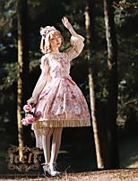 economico -Dolce Dolce Chiffon Da ragazza Vestiti Cosplay Giallo / Verde / Rosa Manica Flare Manica lunga Midi Costumi Halloween