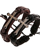 baratos -Homens Entrançado Bracelete Enrole Pulseiras Pulseiras de couro - Pele Cruz Estiloso, Original Pulseiras Preto / Marron Para Diário Rua / Pulseira de elos artesanais