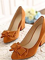 Недорогие -Жен. Балетки Замша Осень Обувь на каблуках Блочная пятка Светло-серый / Красный / Синий