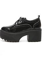 Недорогие -Жен. Комфортная обувь Наппа Leather Осень Обувь на каблуках На толстом каблуке Черный
