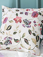 abordables -1 pcs Coton / Lin Housse de coussin, Fleur Pastoral