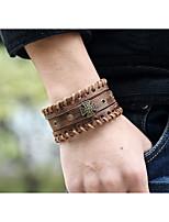 abordables -Homme Tressé Bracelets Vintage Bracelets en cuir - Cuir Croix Elégant, Punk, Européen Bracelet Marron Pour Cadeau Plein Air